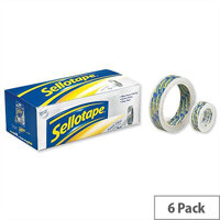 Sellotape Super Clear Premium Easy Tear Tape 24mmx50m Pack 6