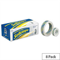 Sellotape Super Clear Premium Easy Tear Tape 18mmx25m Pack 8
