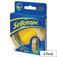 Sellotape Original Golden Tape Roll Retail Pack 24mmx50m Pack 6