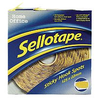 Sellotape Yellow Sticky Velcro Hook Spots Dispenser Roll of 125