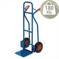 Warehouse Hand Trolley Sturdy Capacity 180kg Blue Rubber Tyres RelX