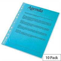Esselte A4 Blue Punched Pockets 55 Micron Pack 10 x 10 (100 Pockets)