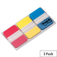 Post-it Strong Index Assorted Red Yellow and Blue 25mm Pack 66