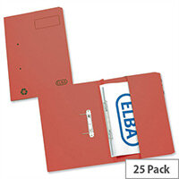 Elba Stratford Transfer Spring File Recycled Pocket 315gsm 32mm Foolscap Red 100090278 Pack 25