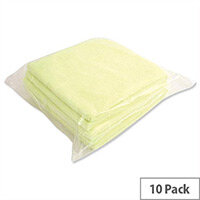 5 Star Yellow Microfibre Heavy Duty Cleaning Cloths Pack 6