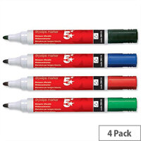5 Star Dry-wipe Markers Assorted Colours Bullet Tip Pack 4. Xylene & Toluene Free Making Them Suitable For Use By Kids & Children. Ideal For Schools, Colleges, Offices, Homes & More.