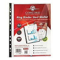 Concord Ring Binder Stud Wallet Polypropylene with Card Pocket 180 Micron A4 Clear Ref 6126-PFL Pack 5