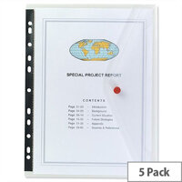 Snopake Punched Pocket Wallet Clear A4 200 Micron Pack 5