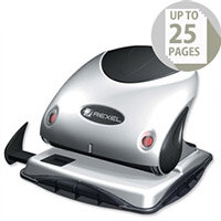 Rexel P225 Metal Punch Silver and Black 2 Hole with Nameplate 25 Sheets