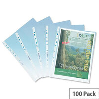 SSeco Punched Pockets Polypropylene Oxo-biodegradable Multipunched 50 Micron A4 Clear Ref PP50 [Pack 100]