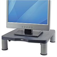 Fellowes Standard Monitor Riser Graphite – Height Adjustable, Cable Management System, Anti-Skid, Warranty & 100% Recycled Plastic (9169301)