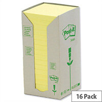 Post-it Note Recycled Tower Pack 76x76mm Pastel Yellow Pack 16