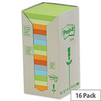 Post-it Notes Pad Recycled Tower Pack 76x76mm Pastel Rainbow Pack 16