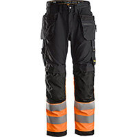 Snickers 6233 AllroundWork High-Vis Work Trousers+ Holster Pockets Class 1 Black - High Visibility Orange Size 250 (W35xL37inch)