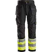Snickers 6233 AllroundWork High-Vis Work Trousers+ Holster Pockets Class 1 Black - High Visibility Yellow Size 44 (W30xL32inch)