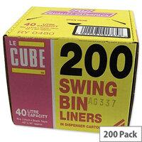 Le Cube Swing Bin Liners 40L in Dispenser Pack of 200