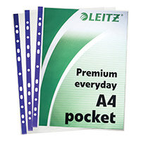 Leitz Premium Presentation Pocket Blue Strip Top and Side-opening 75 Micron A4 Clear Ref 62011 Pack of 25