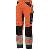 "Snickers 6331 AllroundWork High-Vis Work Trousers CL2 Hi Vis Orange - Steel Grey W30"" L30"" Size 88 WW1"