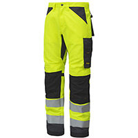 """Snickers 6331 AllroundWork High-Vis Work Trousers CL2 Hi Vis Yellow - Steel Grey W50"""" L32"""" Size 64 WW1"""