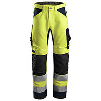 Snickers 6331 AllroundWork High-Vis Work Trousers Class 2 Size 146 (W31xL35inch) Yellow & Navy