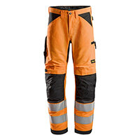 Snickers 6332 LiteWork High-Vis Work Trousers Class 2 Size 88 (W30xL30inch) Orange & Black