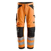 Snickers 6332 LiteWork High-Vis Work Trousers Class 2 Size 146 (W31xL35inch) Orange & Black