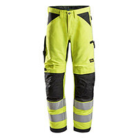 Snickers 6332 LiteWork High-Vis Work Trousers Class 2 Size 146 (W31xL35inch) Yellow & Black