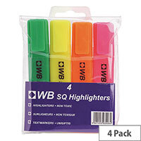 Whitebox Highlighters Pens Assorted Colours Pack of 4