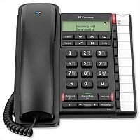 BT Converse 2300 Telephone - Headset Compatible - Wall Mountable - Caller Display - 10 Redial 100-entry - Secrecy/Mute Button - Black