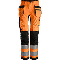 Snickers 6730 AllroundWork, Women's High-Vis Trousers+ Holster Pockets Class 2 High Visibility Orange - Black Size: 32 (W24xL31inch)