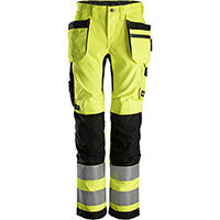 Snickers 6730 AllroundWork, Women's High-Vis Trousers+ Holster Pockets Class 2 High Visibility Yellow - Black Size: 18 (W27xL29inch)