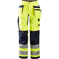 Snickers 6730 AllroundWork, Women's High-Vis Trousers+ Holster Pockets Class 2 High Visibility Yellow - Navy Size: 18 (W27xL29inch)