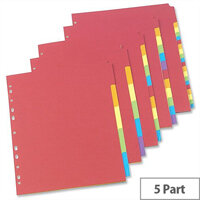 Concord 5 Part Bright Subject Dividers A4 Assorted