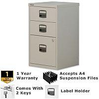 1 Filing & 2 Stationery Drawer A4 Steel Filing Cabinet Lockable Grey Bisley PFA Home Filers