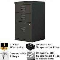 1 Filing & 2 Stationery Drawer A4 Steel Filing Cabinet Lockable Black Bisley PFA Home Filers