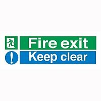 Safety Sign Fire Exit Keep Clear 150x450mm PVC