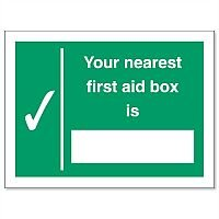 Nearest First-Aid Box Self Adhesive Vinyl Sign 200x150mm Stewart Superior