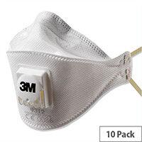 3M FFP1 Respirator Mask Valved Fold-flat Cool Flow Reinforced-material Pack 10