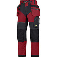 """Snickers 6902 FlexiWork Trousers With Holster Pockets Chill Red - Black W50"""" L32"""" Size 64 WW1"""