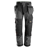 Snickers 6902 FlexiWork Work Trousers With Holster Pockets Size 192 (W31xL28inch) Steel Grey & Black