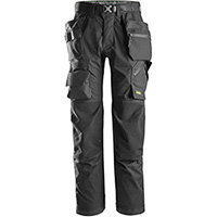Snickers 6923 FlexiWork Floorlayer Trousers+ Holster Pockets Black Size 192 (W31xL28inch)