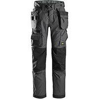 Snickers 6923 FlexiWork Floorlayer Trousers+ Holster Pockets Steel Grey - Black Size 192 (W31xL28inch)
