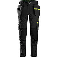 Snickers 6940 FlexiWork Softshell Stretch Trousers+ Holster Pockets Black - Neon Yellow Size 88 (W30xL30inch)
