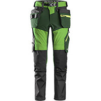 Snickers 6940 FlexiWork Softshell Stretch Trousers+ Holster Pockets Apple Green - Forest Green Size 88 (W30xL30inch)
