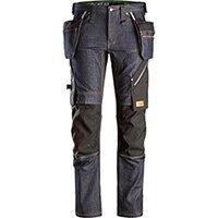 Snickers 6955 FlexiWork Denim Work Trousers+ Holster Pockets Denim - Black Size 88 (W30xL30inch)