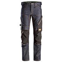 Snickers 6956 FlexiWork Denim Work Trousers Plus Size 88 (W30xL30inch) Denim/Black
