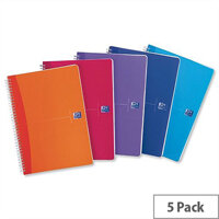 Oxford Office A4 Notebook Wirebound Plastic Bright Assorted Pack 5