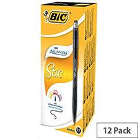 Bic Atlantis Stic Black Ballpoint Pen Pack 12