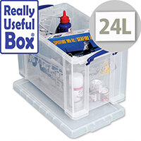 Storage Box Plastic 24 Litre Stackable Clear Really Useful
