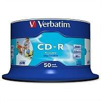Verbatim CD-R Inkjet Printable Recordable Disk Spindle (Pack of 50)